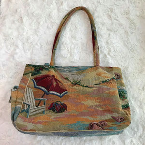 Vintage Beach Scene Tapestry Shoulder Purse